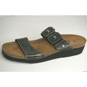 Naot 39 Us 8 Ashley Slides Sandals Bronze Embossed